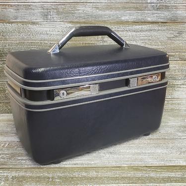 Vintage Samsonite Train Case, Vintage Carrypak 12 Luggage, 1980s Blue Suitcase, Overnight Carry On Travel Toiletries Case, Vintage Luggage by AGoGoVintage