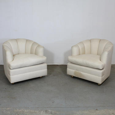 Pair of Mid-Century Modern Barrel Back Club Chairs on Casters by AnnexMarketplace