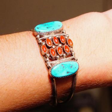 """Vintage Signed Native American Sterling Silver Coral & Turquoise Cuff Bracelet, Unique Multi-Stone Wire Cuff, Adjustable, Old Pawn, 5 3/4"""" L by shopGoodsVintage"""