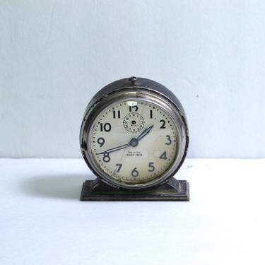 Little Ben Desk Clock Mechanical Winding Alarm Clock Black Retro Clock Mid Century Modern Wind up Clock Manual Metal Clock Black Iron Clock by akaATA