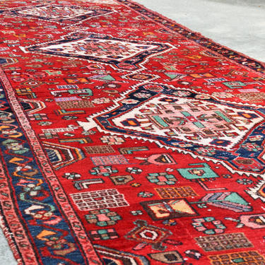 """Vintage Extra Large Persian Style Hamadan Hand Knotted Runner - 16' X 4' 8"""" by SourcedModern"""