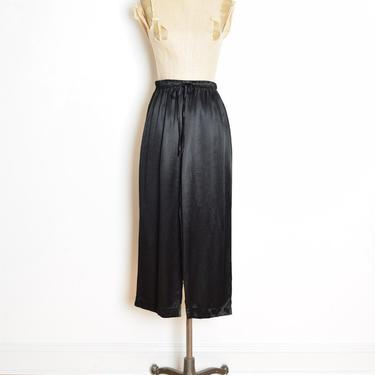 vintage 90s pants black satin drawstring high waisted lounge trousers XS S clothing by huncamuncavintage