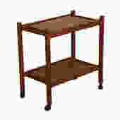 Danish Teak Serving / Bar Cart with Shelf