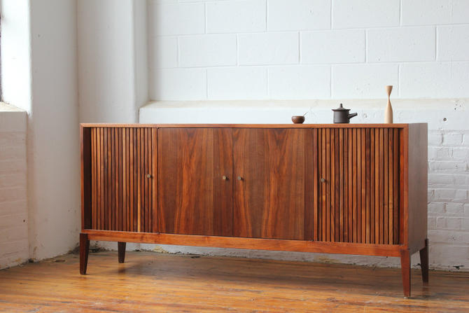 Restored Mid Century Modern Tambour Door Walnut Credenza by NijiFurnishing