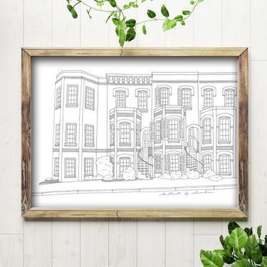 Art Print // Row Houses of Washington, D.C. // 5x7 + 8x10 Architectural Drawing by BillieClaireHandmade
