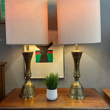 Vintage Pair of Brass Stiffel Table Lamps 1960s