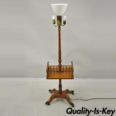 Vintage English Regency Style Mahogany Floor Table Lamp with Carved Harp Gallery