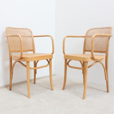 Prague Chairs Pair Josef Hoffman Thonet Hand Caned Poland FMG Fameg Bentwood Dining Chairs by 330Modern