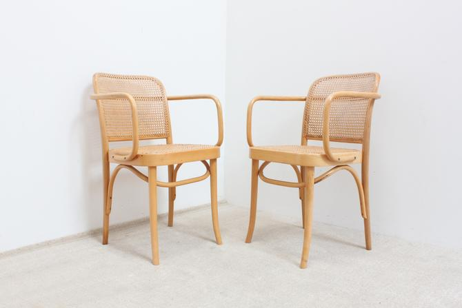 Prague Chairs Pair Josef Hoffman Thonet Hand Caned Poland FMG Fameg Bentwood Dining Chairs by 330Modern