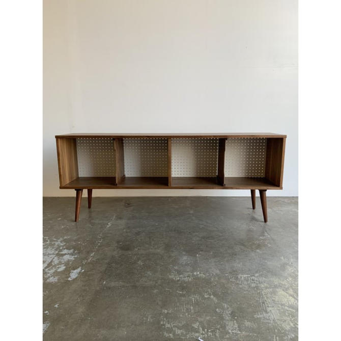 Record Holder in Walnut and Perforated White by VintageOnPoint