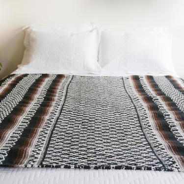 Tribal New Mexico Style Woven Serape/Horse Blanket in Black, Brown and White by PortlandRevibe