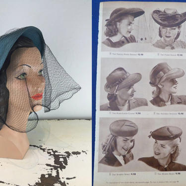 Pretty Penny Bonnets - Vintage 1940s Cerulean Blue Aqua Wool Felt Bonnet Hat w/Veil by RoadsLessTravelled2