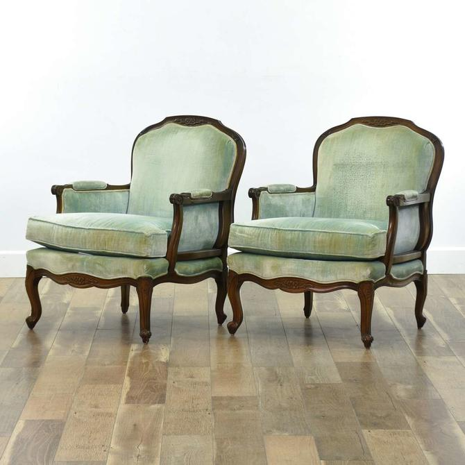 Pair Of Burnett Vintage Carved French Bergere Armchairs