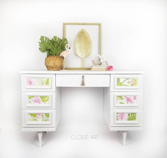 Midcentury Modern Vintage Girls Desk Vanity White Pink Green Floral by CloudArtbyKristen