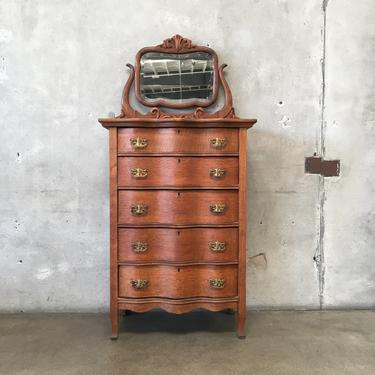 Antique American Oak Chest of Drawers with Beveled Mirror C. 1850-1890