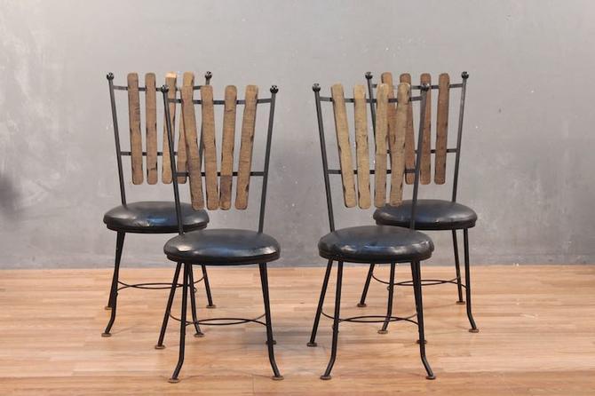 Atomic Iron & Vinyl Slat-Back Side Chair