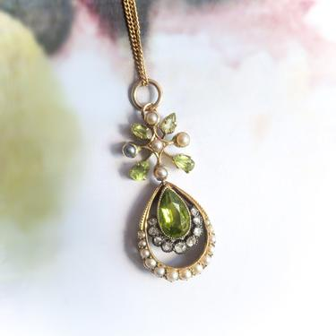 Antique Peridot Diamond Pearl Pendant Victorian 1890's 1.90ct t.w. Seed Pearl Rose Cut Diamond August Birthstone Necklace Vintage 14k 18k by YourJewelryFinder