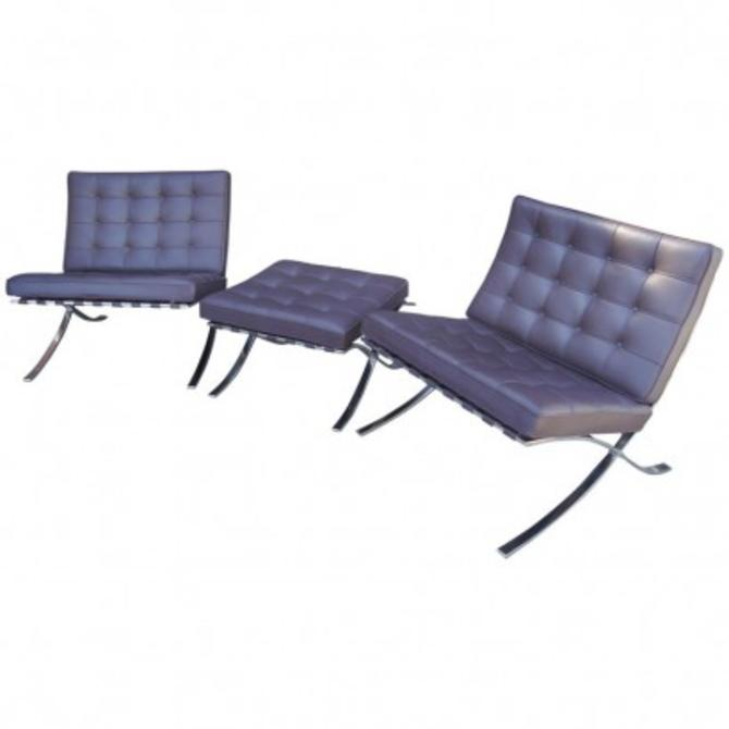 Pair of Barcelona Chairs with Single Ottoman by Mies Van Der Rohe for Knoll