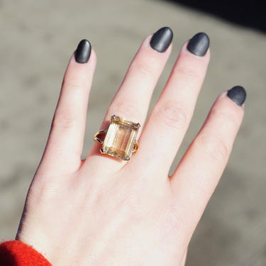 Vintage 14K Gold Smoky Quartz Ring, Gold Cocktail Ring With Emerald Cut Smoky Quartz, Champagne Color Stone Ring With 14K Gold Setting by shopGoodsVintage