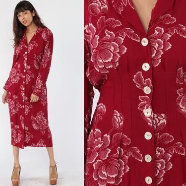 Red Floral Dress 80s Secretary Midi Boho High Waisted Button Up Secretary Vintage Long Puff Sleeve White Bohemian medium by ShopExile