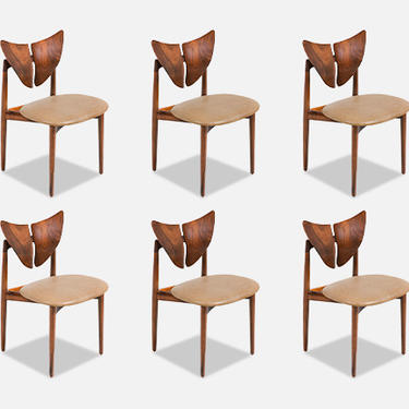 "Kurt Østervig ""Butterfly"" Walnut & Leather Dining Chairs for Brande Møbelindustri"