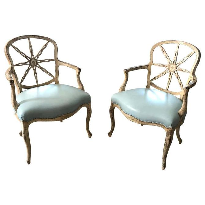 Pair of George III Style Wheel Back Armchairs with Light Blue Leather Seats
