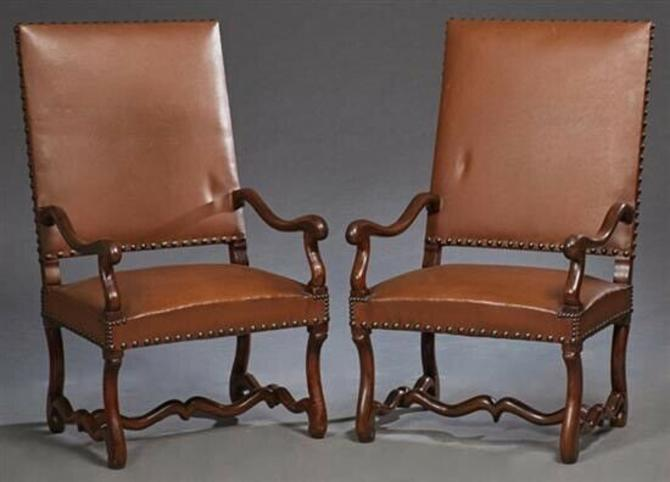 Antique French Walnut & Leather Fauteuils Armchairs (pair)   Library Chairs