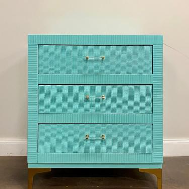 AVAILABLE: Teal Lacquered Chest of Drawers / Nightstand / Bachelor Chest by VintageRefinedDecor