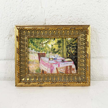 """Vintage Framed Floral Print Gold Tiny Frame Pierre Bonnard """"Table Set in a Garden"""" 1920 National Gallery of Art 1970 Exhibition by CheckEngineVintage"""