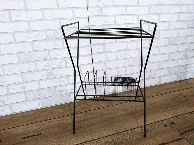 Mid Century Tall Black Wire Record Rack by RedsRustyRelics
