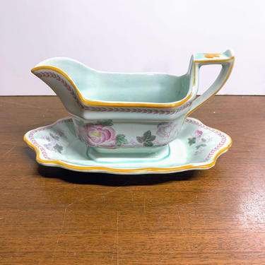 Vintage Adams China Calyx Ware Metz Gravy Boat with Attached Underplate by OverTheYearsFinds
