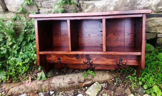 Reclaimed Pine Cubby Coat Rack with a Double Row of Hooks by BarnWoodFurniture
