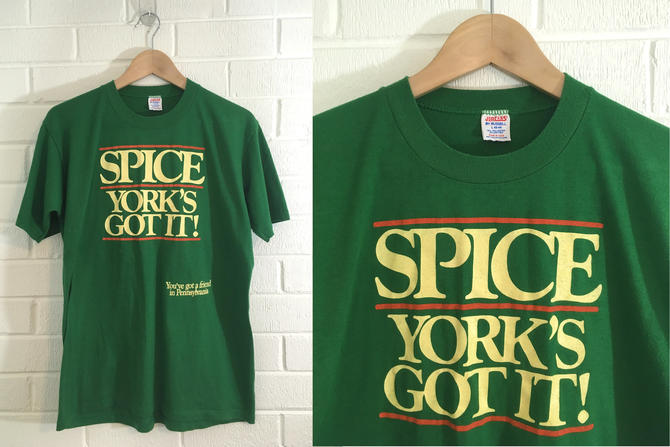 Vintage York PA T-Shirt 80s Pennsylvania Souvenir 1980s Summer Short Sleeve Green Yellow Hipster Retro Unisex Size Large L Extra XL by CheckEngineVintage
