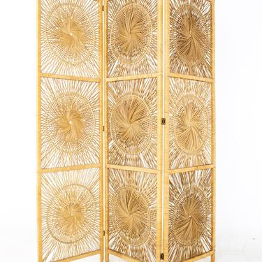 Mid Century Rattan Room Divider Screen - mcm by ModernHill