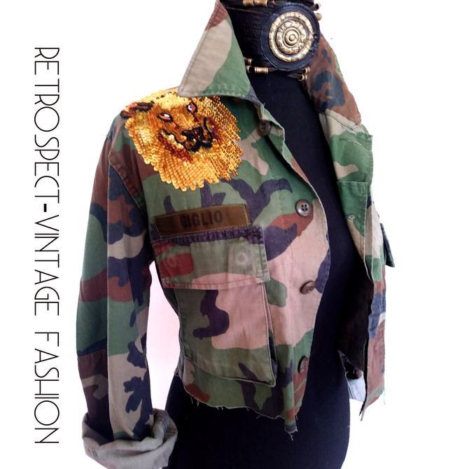 0fba5072ba2bd SEQUIN Lion of judah military jacket VINTAGE green camo jacket, custom  camouflage cropped women&