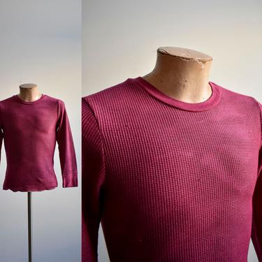 Vintage Hand Dyed Merlot Red Thermal Shirt by milkandice