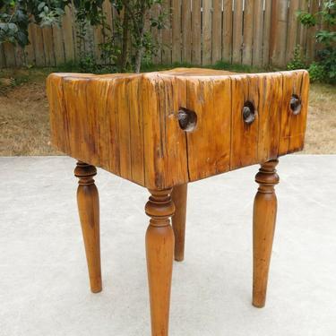 Antique BUTCHER BLOCK SIDE TABLE 20x20x26 Functional INDUSTRIAL ART Sculpture