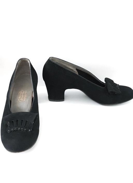 1940s Black Suede I Miller Heels Shoes Pumps by hemlockvintage