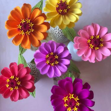 Crepe Paper Zinnia -- Paper Flowers for Weddings - Home Decor - Floral Wholesale by ReveryPaperFlora