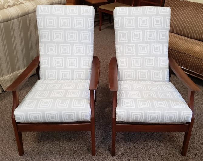Item #DMC173 Vintage 1970s Walnut & Cushioned Arm Chairs