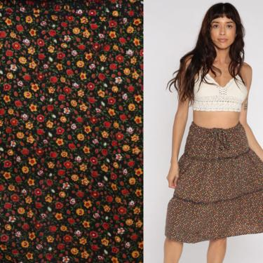 Floral Peasant Skirt Calico Skirt Cottagecore Hippie Skirt 70s Midi Skirt Summer 1970s Boho Tiered Bohemian Vintage Extra Large xl by ShopExile