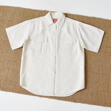 vintage raw silk top, ivory button down shirt, size L by ImprovGoods