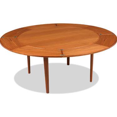 "Danish Modern ""Flip-Flap"" Expanding Teak Dining Table by Dyrlund"