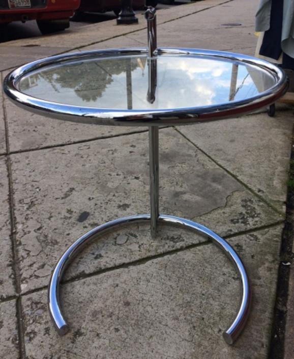 Chrome and Glass E-1027 Table by Eileen Gray