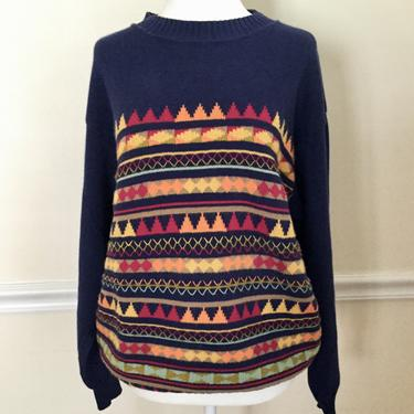 Vintage 80s United Colors Of Benetton Sweater Retro Colorful Navy Blue Cotton Sweater Womens Size Medium by AuntyEntitysVintage