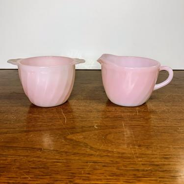 Vintage Anchor Hocking Fire King Pink Swirl Sugar and Creamer by OverTheYearsFinds