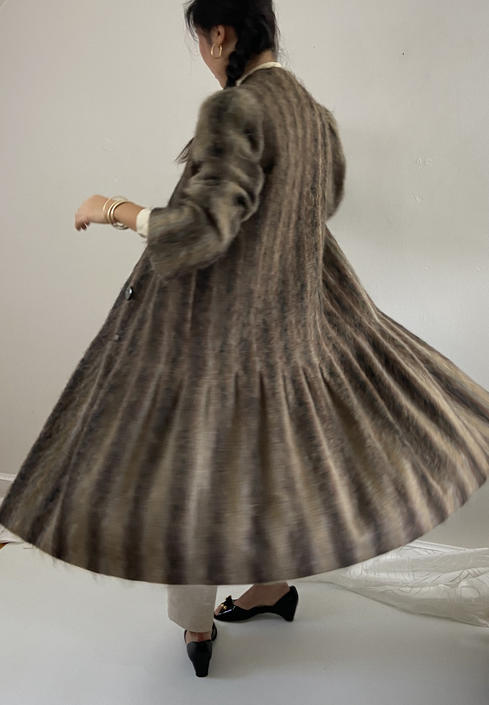 70s Trigère mohair coat / vintage Pauline Trigère brushed striped mohair pleated twirly puff sleeve collarless winter long coat overcoat | M by RecapVintageStudio