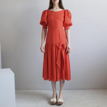 Red orange drop waist puffed sleeves dress / XS by EELT
