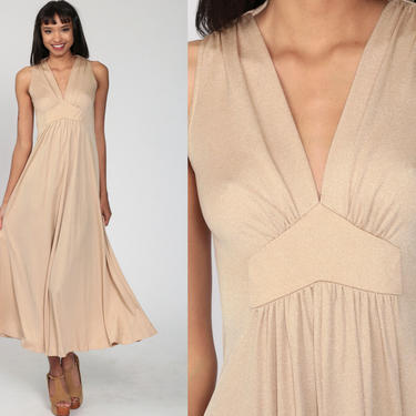 Long Grecian Dress Tan Plunging Neckline Gown Maxi 70s Boho Deep V Neck Party Dress 1970s Empire Waist Vintage Sleeveless Bohemian Small by ShopExile