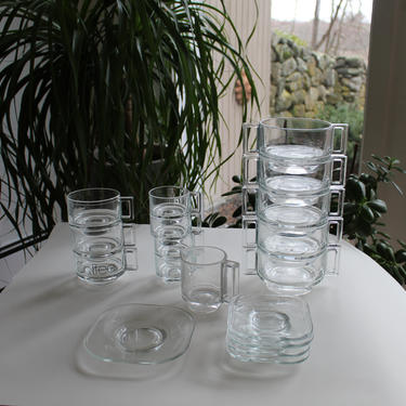 Set of Joe Colombo Arno Glassware Space Age Geometric Glass Mugs, Saucers, Bowls, Plates, Creamer, Espresso Mid Century-Modern Italy Italian by FancyHaus